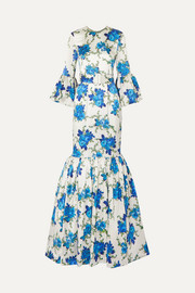Patio belted ruffled floral-print silk-blend twill maxi dress