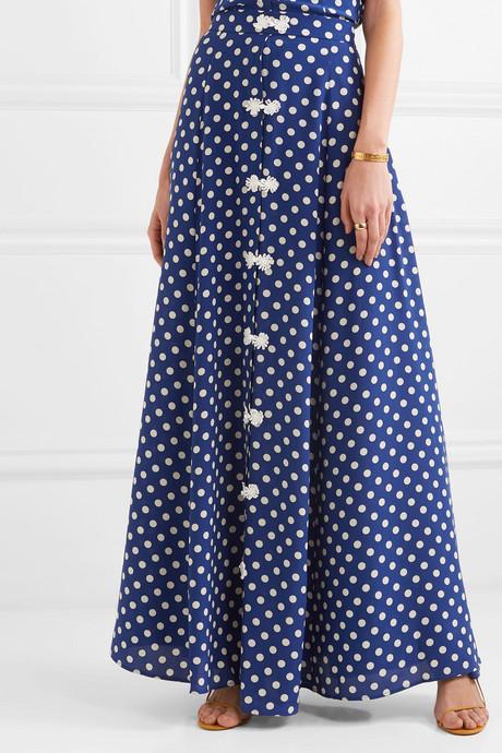 Lolita polka-dot silk-crepe maxi skirt