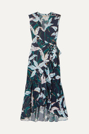 Tory Burch Ruffled floral-print cotton-poplin wrap dress