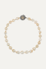 Kimberly McDonald 18-karat blackened gold, pearl and diamond necklace