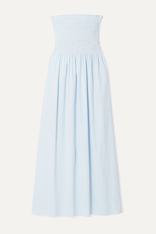 La Ligne Meredith shirred striped cotton-blend poplin midi dress