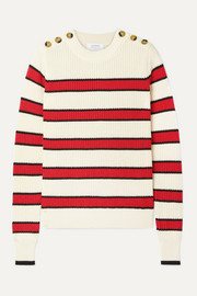 Striped ribbed-knit cotton sweater