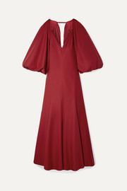 Khaite Joanna cape-effect open-back cotton-poplin maxi dress