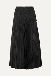 Rosa shirred pleated cotton-poplin midi skirt