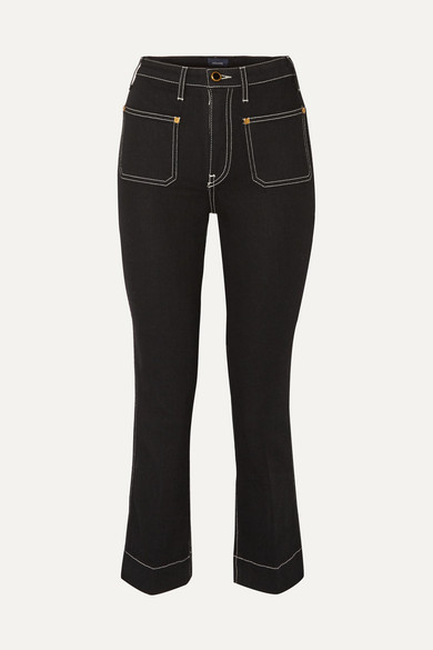 Raquel Cropped High Rise Flared Jeans by Khaite