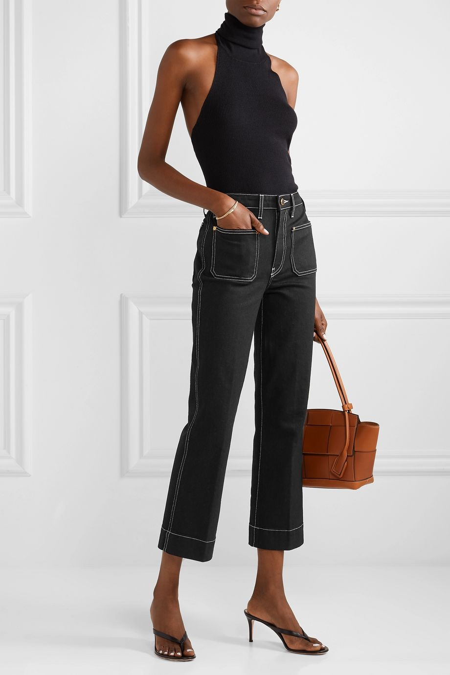 Khaite Raquel cropped high-rise flared jeans