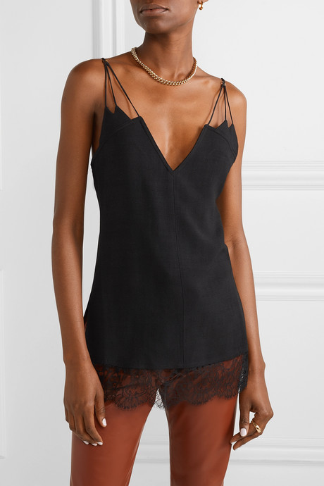 Elenora lace-trimmed crepe camisole
