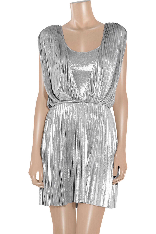 Halston Pleated lamé mini dress