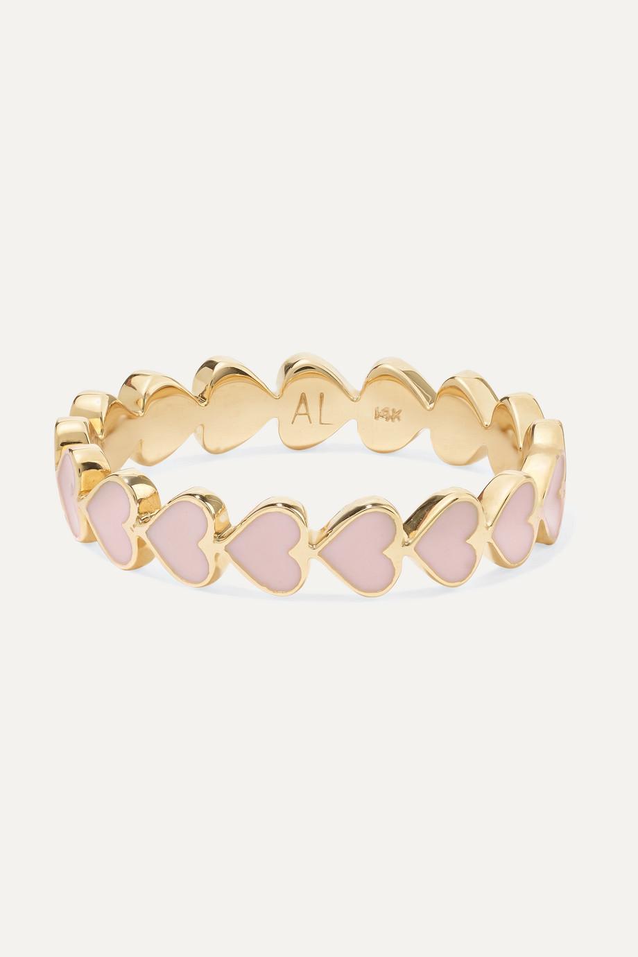 Alison Lou Heart Stack 14-karat gold and enamel ring