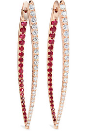 Cristina XL 18-karat rose gold, ruby and diamond earrings