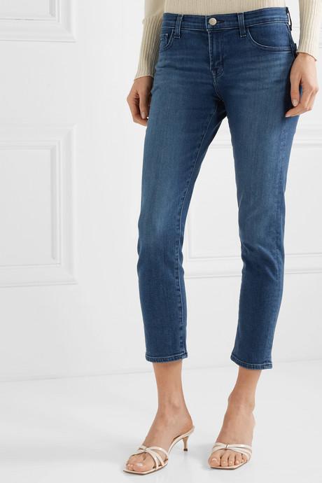Sadey cropped mid-rise slim-leg jeans