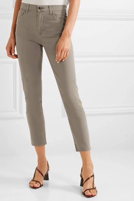 Kyrah cropped stretch cotton-blend twill skinny pants