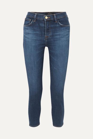 J BRAND | J Brand - Ruby Cropped High-Rise Slim-Leg Jeans - Dark Denim | Goxip