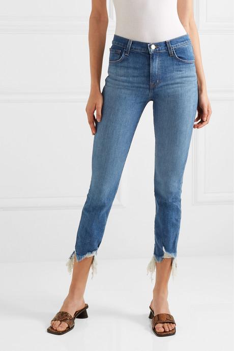 Ruby cropped frayed high-rise slim-leg jeans