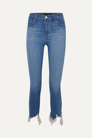 Ruby cropped frayed high-rise slim-leg jeans