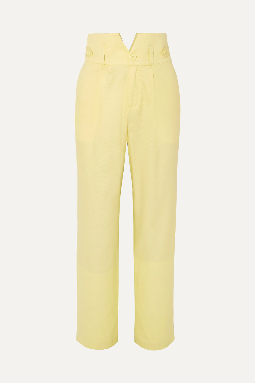 Fleur du Mal Silk and wool-blend straight-leg pants