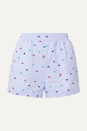 Embroidered striped cotton-blend poplin shorts