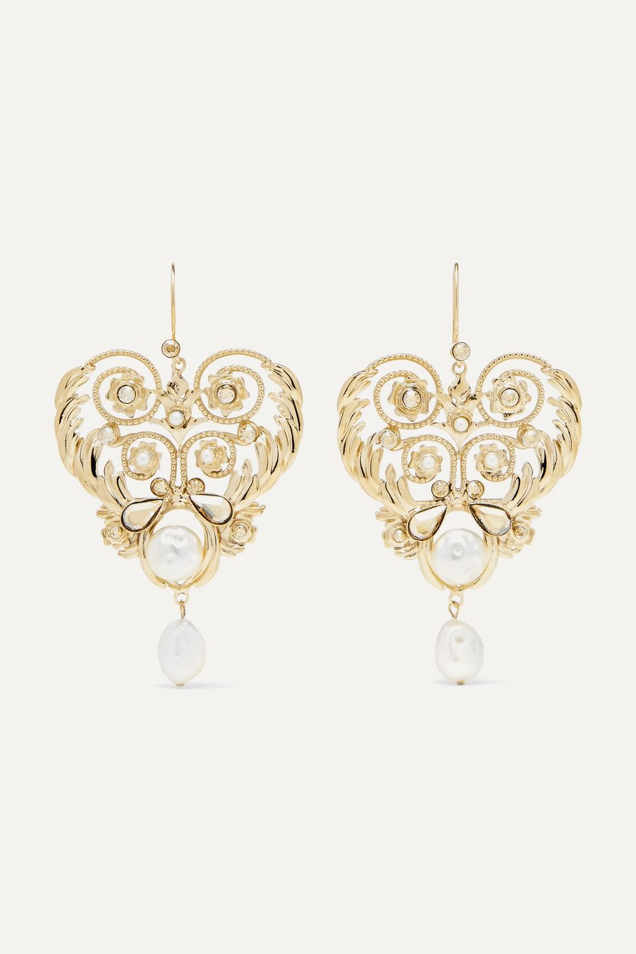 Etro Gold-tone, crystal and faux pearl earrings