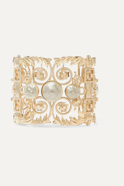 Etro Gold-tone, crystal and faux pearl cuff