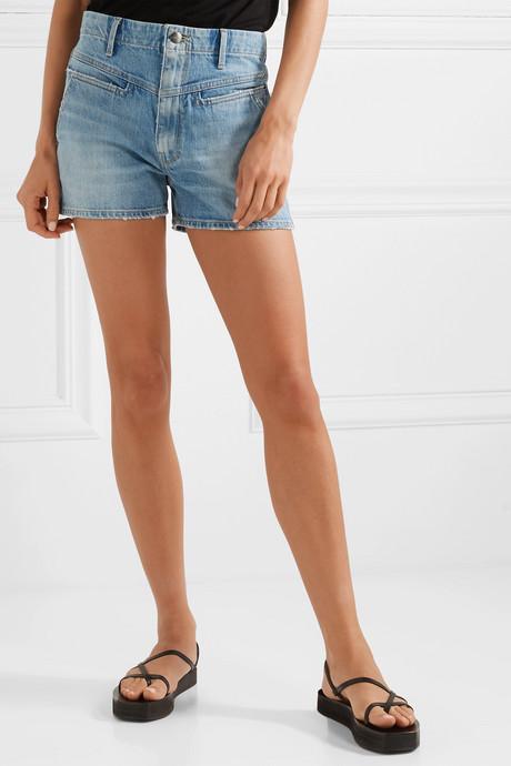 Retro distressed denim shorts