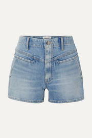 Retro distressed denim shorts