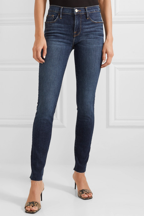 Le Skinny de Jeanne Raw Edge distressed mid-rise jeans