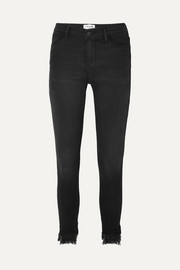 Le High cropped frayed mid-rise skinny jeans