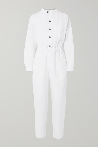 FRAME | FRAME - Painter Cotton And Linen-Blend Jumpsuit - White | Goxip