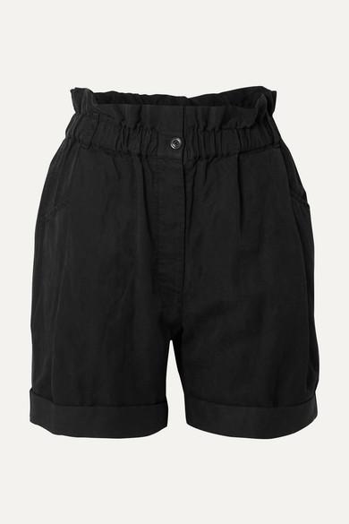 FRAME | FRAME - Harem Lyocell, Linen And Cotton-Blend Shorts - Black | Goxip