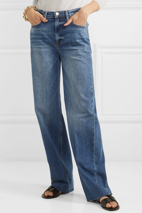Le California frayed high-rise wide-leg jeans