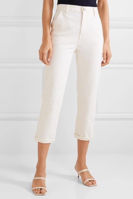 Carpenter cropped high-rise straight-leg jeans