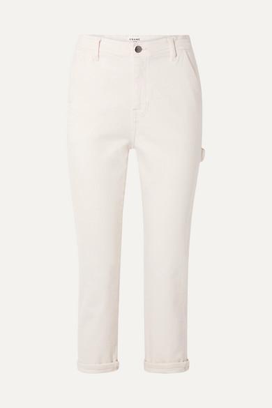 FRAME | FRAME - Carpenter Cropped High-Rise Straight-Leg Jeans - Off-White | Goxip