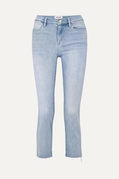 FRAME | FRAME - Le High Cropped Frayed Straight-Leg Jeans - Light Denim | Goxip