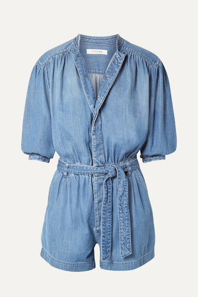 FRAME | FRAME - Cali Belted Cotton-Blend Chambray Playsuit - Mid Denim | Goxip