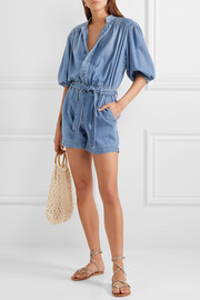 Cali belted cotton-blend chambray playsuit