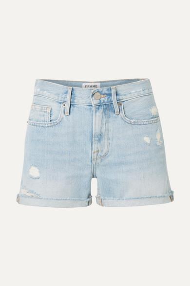 FRAME | FRAME - Le Brigette Frayed Denim Shorts - Light Denim | Goxip