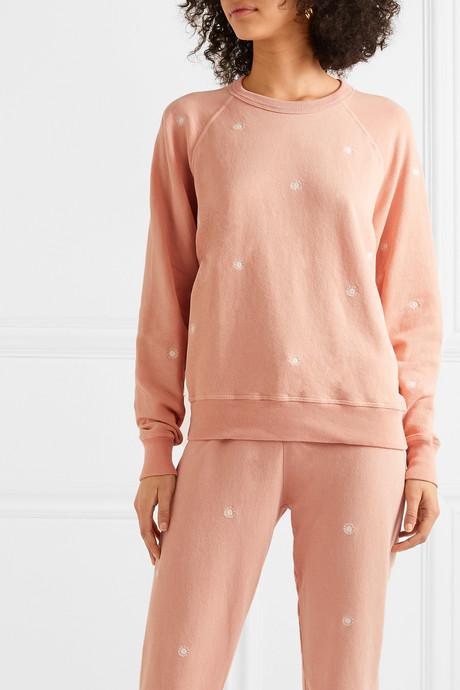 The College embroidered slub cotton-jersey sweatshirt