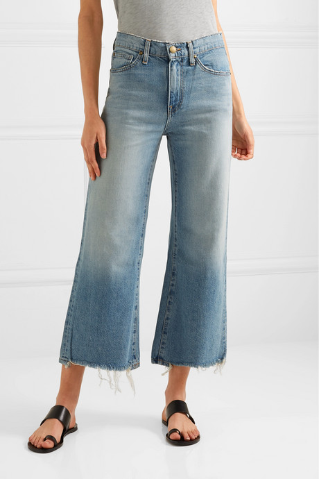 The Rider cropped frayed high-rise wide-leg jeans