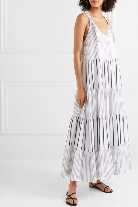 The Glen picot-trimmed striped cotton-poplin maxi dress