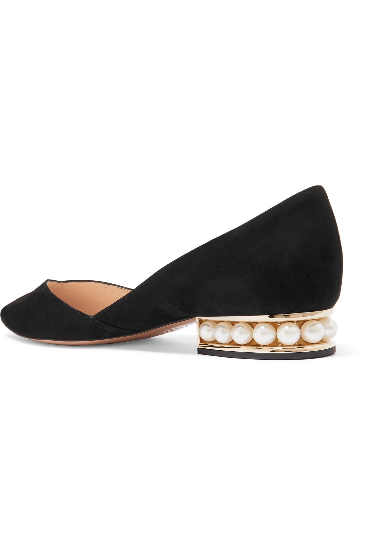 Black Casati Embellished Suede Point-toe Flats   Nicholas Kirkwood