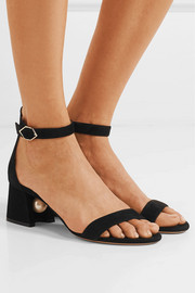 Miri faux pearl-embellished suede sandals