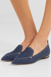 Nicholas Kirkwood Beya denim point-toe flats