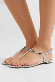 Nicholas Kirkwood Casati faux pearl-embellished mirrored-leather sandals