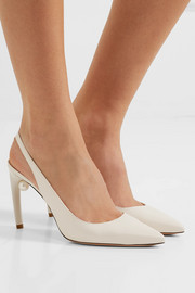 Nicholas Kirkwood Mia faux pearl-embellished leather slingback pumps