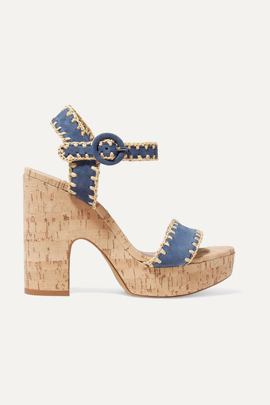 Elena Whipstitched Raffia And Suede Platform Sandals by Tabitha Simmons