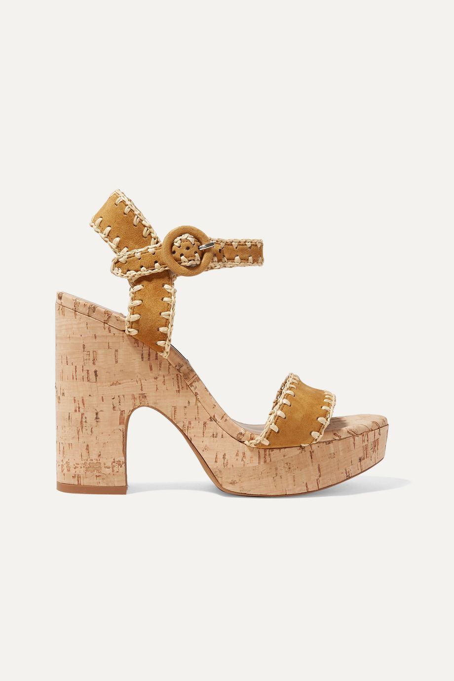 Tabitha Simmons Elena whipstitched raffia and suede platform sandals