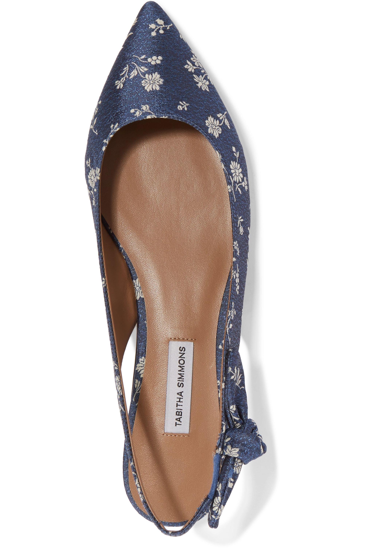 Tabitha Simmons Rise bow-embellished floral-jacquard slingback flats