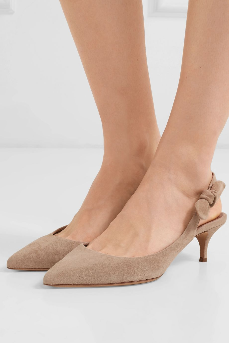 Tabitha Simmons Rise bow-embellished suede slingback pumps