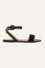 Judy whipstitched raffia and suede sandals