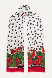 Dolce & Gabbana Frayed printed modal and silk-blend twill scarf